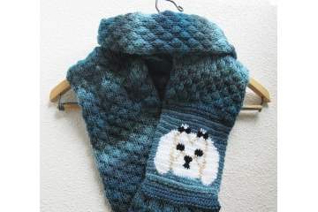 Maltese dog infinity scarf.  Shades of blue cowl with a white dog wearing black bows