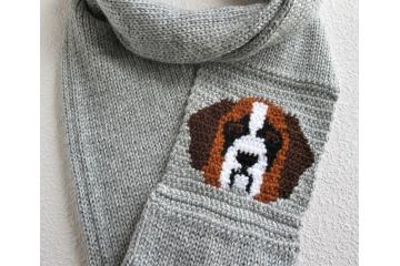 Saint Bernard Scarf.  Gray infinity cowl with a tricolor St. Bernard dog