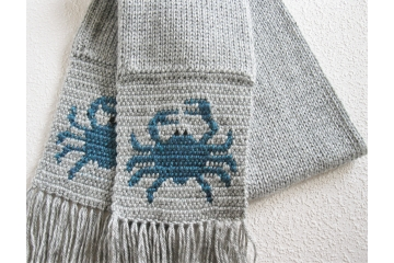 Blue Crab scarf. Handmade, gray heather scarf with glacier blue crabs.