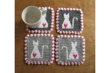Cat cup coasters. Shades of gray, mug rugs with white kitties and pink hearts.