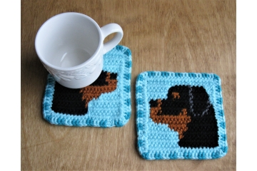 Rottweiler Dog coasters. Set of two, turquoise, gray or brown mug rugs with Rottie dogs.