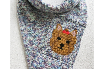 Yorkie dog infinity scarf. Colorful cotton blend circle cowl with a Yorkshire terrier.