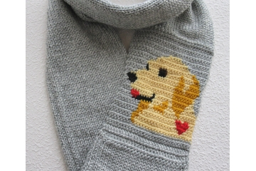 Golden Retriever Scarf.  Long grey infinity cowl with a yellow dog and red heart