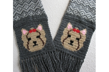 Yorkie dog scarf. Gray fair isle knit scarf with Yorkshire terrier dogs and red bows.