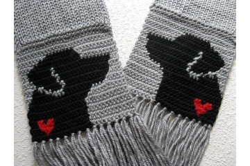 Labrador Retriever Scarf. Grey, knit and crochet scarf with small red hearts and black lab dogs