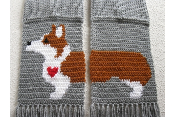 Welsh Corgi Scarf. Gray scarf with a Pembroke corgi dog and small red heart.
