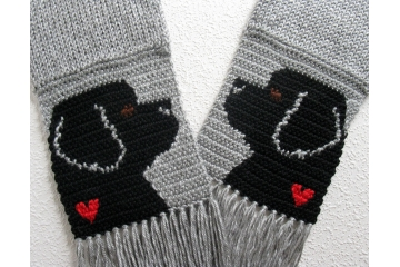 Newfoundland Dog scarf. Handmade, gray scarf with black dogs and small red hearts.