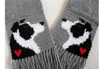 Border Collie Scarf. Grey, handmade scarf with border collie dogs and small red hearts.
