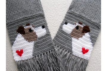 Jack Russell Terrier Scarf. Grey knit and crochet scarf with Parsons Terrier dogs