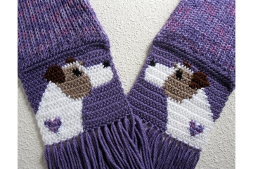 Jack Russell Terrier Scarf. Fair Isle, purple knit scarf with crochet Parsons Terriers and small purple hearts.