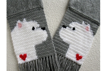 Gray knit and crochet scarf with West Highland White Terrier dogs and small red hearts.