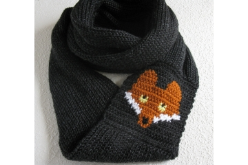 Fox Infinity Scarf.  Long, charcoal black knitted cowl with rust foxes.