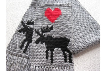 Knit Animal Scarf. Gray, knitted accessory with bull moose silhouettes and red hearts