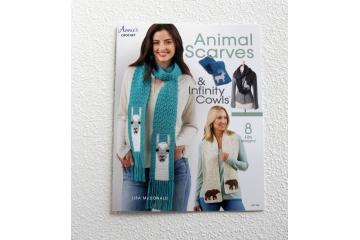 Animal Scarves crochet book. 8 Diy animal crochet patterns by Lisa McDonald.  Llama, bear, wolf, deer, horse, giraffe, octopus and frog