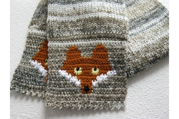 Knit Fox Scarf. Neutral colors striped scarf with rust foxes