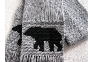 Knit Bear Scarf. Long, gray knitted and crochet scarf with black bears for women or men.