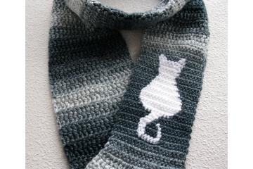 Cat Infinity Scarf.  Crochet blue denim stripes scarf with white kitty silhouette