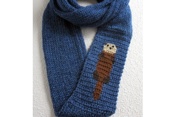 Knit Otter Scarf. Long, royal blue infinity cowl with a sea otter.