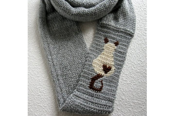 Siamese Cat Scarf. Gray, knit infinity scarf with a Himalayan motif