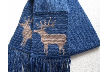 Knit Elk Scarf. Royal blue, knitted accessory for men or women.
