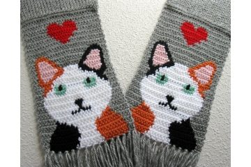 Knit Calico Cat Scarf. Gray with white, black and orange crocheted kitties and red hearts