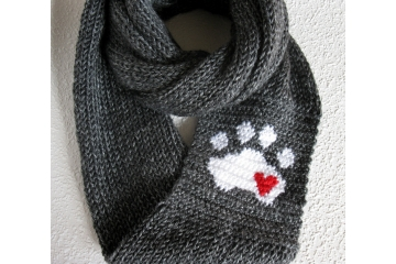 Paw Print Infinity Scarf. Charcoal gray knitted circle cowl with a white paw print and small red heart.