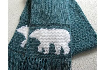 Glacier blue wildlife scarf with white polar bears