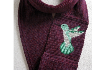 Hummingbird Infinity Scarf. Purple knit scarf for bird watchers