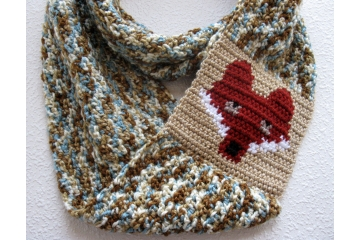 Fox infinity scarf. Blue and brown speckled wildlife cowl