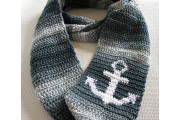 Denim stripes infinity scarf with a white anchor