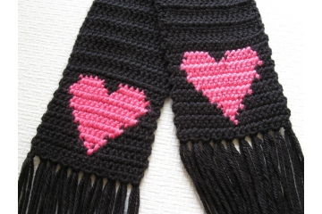 Long black scarf with bright pink hearts for women