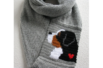 Bernese Mountain Dog Gifts. Gray infinity scarf with a Berner dog and red heart. More colors available