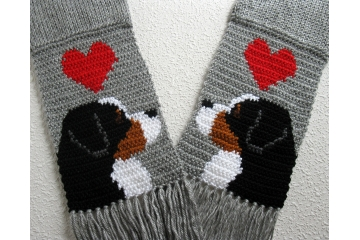 Mountain Dog Scarf. Gray, knitted scarf with Bernese dogs and red hearts