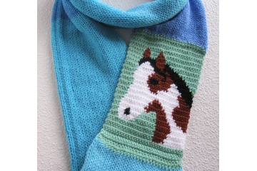 Paint Horse Scarf. Blue color block infinity cowl with a pinto horse