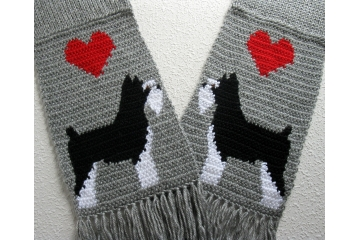 Miniature Schnauzer Scarf. Handmade gray scarf with black and white dogs and red hearts