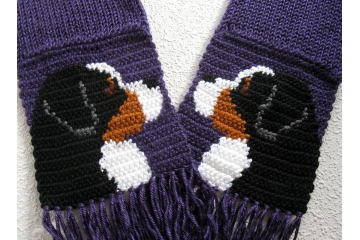 Purple Mountain Dog Scarf. Ultraviolet knit scarf with Bernese mountain dogs