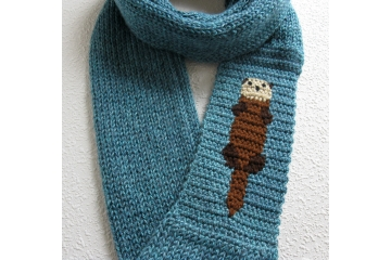 Otter Scarf. Long, glacier blue infinity cowl with a sea animal