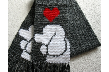 Knit Poodle Scarf. Charcoal gray with white poodle dogs and red hearts