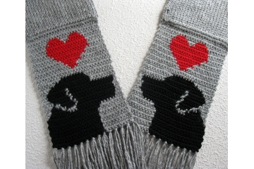 Labrador Retriever Scarf. Grey, crochet scarf with red hearts and black lab dogs
