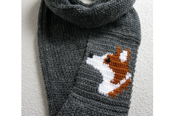 Corgi Infinity Scarf. Charcoal knit cowl with a Pembroke Welsh corgi dog