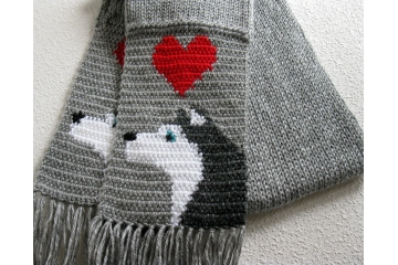 Husky Dog Scarf. Gray knit and crochet scarf with red hearts and blue eye Siberian huskies