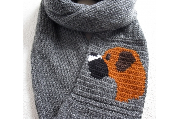 Boxer Scarf. Charcoal gray infinity cowl scarf with a fawn boxer dog