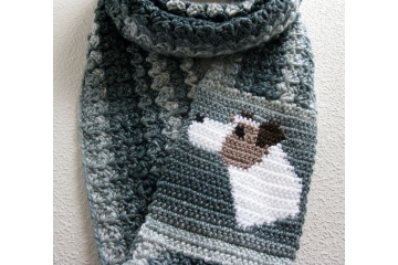 Dog infinity Scarf. Very long, denim blue striped infinity scarf with a Parsons Jack Russell Terrier
