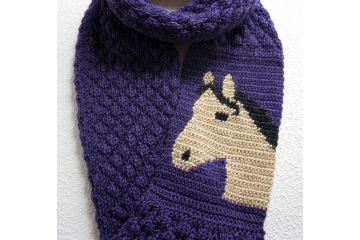 Buckskin Horse Scarf. Ultraviolet knitted infinity cowl for equestrians
