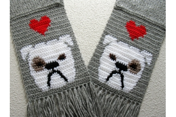 Bulldog Scarf. Gray knit scarf with white English bulldogs and red hearts