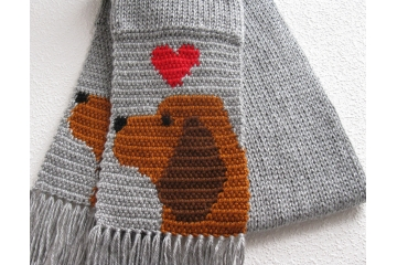 Bloodhound Scarf. Gray knit scarf with rust bloodhound dogs and hearts for big red dog lovers