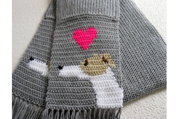 Gray Greyhound scarf. Knit and crochet scarf with Italian greyhound dogs and pink hearts