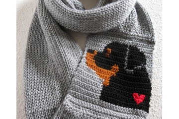 Rottweiler Infinity Scarf. Gray circle cowl with a rottie dog and small heart