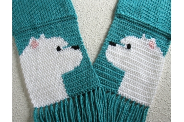 Westie Terrier Scarf. Turquoise blue, knit with West Highland White Terrier dogs.