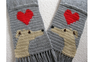 Gray knit scarf with fawn greyhound dogs and red hearts. Love My Dog scarf